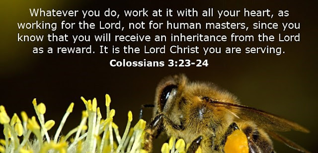 Whatever you do, work at it with all your heart, as working for the Lord, not for human masters, since you know that you will receive an inheritance from the Lord as a reward. It is the Lord Christ you are serving.
