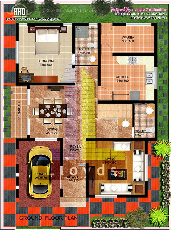 Ground floor plan. 2000 sq feet villa floor plan and elevation   Kerala home design