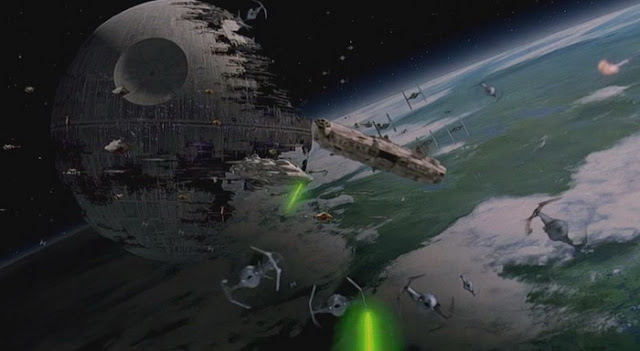 The Millennium Falcon attacking the Death Star and Imperial fleet