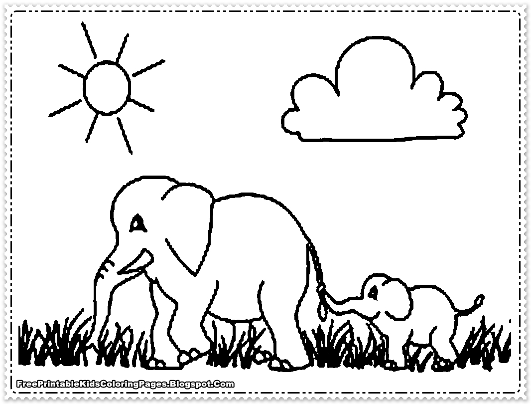 Christmas Elephant Coloring Book Page S Full Size Printable