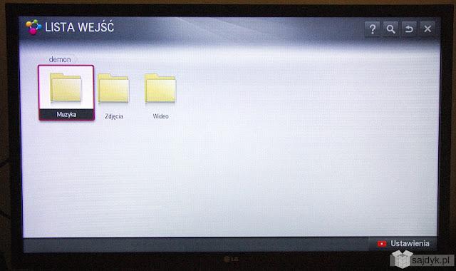 Foldery udostępnione na macierzy widoczne z poziomu odbiornika TV