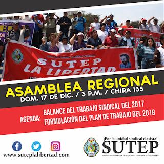 Asamblea Regional del SUTEP La Libertad