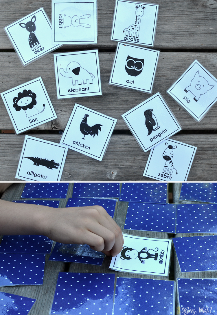 free printable kids animal memory game