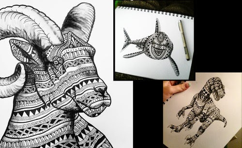 00-Savanna-Zentangle-Wild-Animal-Drawings-www-designstack-co