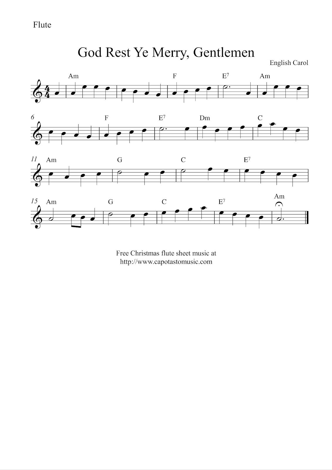 Free Printable Sheet Music Free Christmas Flute Sheet Music God Rest Ye Merry Gentlemen