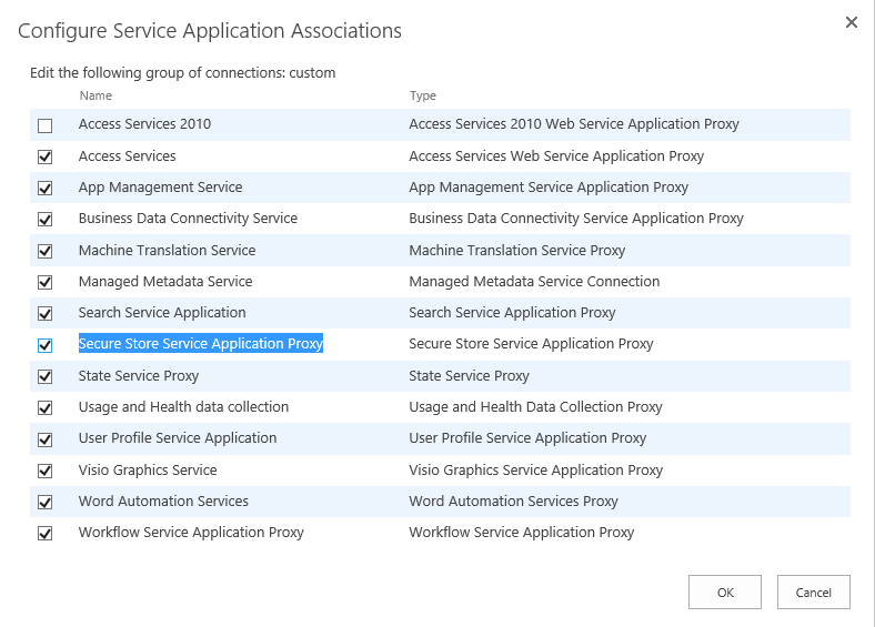 service application association in sharepoint 2016