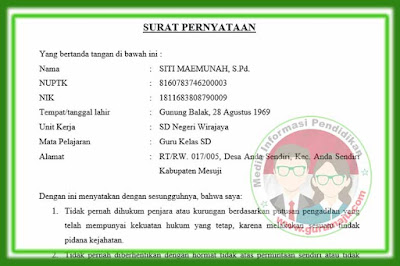Surat Pernyataan Untuk Pendaftaran PPPK (P3K) 2019
