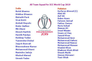 World Cup 2019 All Team Squad  India Team Squad  Rohit Sharma  Shikhar Dhawan  Rishabh Pant Virat Kohli  Ambati Rayudu  Kedar Jadhav MS Dhoni  Dinesh Karthik Hardik Pandya Kuldeep Yadav  Yuzvendra Chahal Jasprit Bumrah  Bhuvneshwar Kumar  Mohammed Shami Ravindra Jadeja  Khaleel Ahmed  Umesh Yadav   Pakistan Team Squad Sarfaraz Ahmed (C)  Abid Ali  Asif Ali  Babar Azam  Faheem Ashraf  Fakhar Zaman  Haris Sohail  Hassan Ali  Imad Wasim  Imam-ul-Haq  Junaid Khan  Mohammad Abbas  Mohammad Amir  Mohammad Hafeez  Mohammad Hasnain  Mohammad Nawaz  Mohammad Rizwan  Shadab Khan  Shaheen Shah Afridi  Shan Masood  Shoaib Malik  Usman Shinwari  Yasir Shah   New Zealand Team Squad Kane Williamson (C)  Tom Blundell  Trent Boult  Colin de Grandhomme  Lockie Ferguson  Martin Guptill  Matt Henry  Tom Latham  Colin Munro  Jimmy Neesham  Henry Nicholls  Mitchell Santner  Ish Sodhi,  Tim Southee  Ross Taylor   Australia Team Squad Aaron Finch (C) David Warner Usman Khawaja Steve Smith Peter Handscomb Shaun Marsh Marcus Stoinis Glenn Maxwell Alex Carey Nathan Coulter-Nile Josh Hazlewood Mitchell Starc Patrick Cummins Nathan Lyon Adam Zampa   South Africa Team Squad Faf Du Plessis Hashmi Amla Reeza Hendricks David Miller Rassie van der Dussen Farhaan Behardien Adam Makram JP Duminy Christian Jonker Pieter Malan Quinton de Kock Heinrich Klassen Dwaine Pretorius Chris Morris Imran Tahir Tabraiz Shamsi Dale Steyn Kagiso Rabada Lungi Ngidi Andile Phehlukwayo Beuran Hendricks   England Team Squad Eoin Morgan (C)  Jason Roy  Joe Root  Jonny Bairstow  Alex Hales  Ben Stokes  Jos Buttler  Moeen Ali  Chris Woakes  Adil Rashid  Liam Plunkett  Mark Wood  Jofra Archer  David Willey  Joe Denly   Windies Team Squad Jason Holder (C)  Jason Mohammed  Chris Gayle  Evin Lewis  Marlon Samuels  Shai Hope  Carlos Brathwaite  Rovman Powell  Ashley Nurse  Sheldon Cotterell  Nikita Miller  Kesrick Williams  Kemar Roach  Shimron Hetmyer  Devendra Bishoo  Sunil Narine Darren Bravo    Bangladesh Team Squad Tamim Iqbal  Liton Das  Imrul Kayes  Shakib Al Hasan  Mushfiqur Rahim  Mahmudullah  Soumya Sarkar  Mohammad Mithun  Sabbir Rahman  Mosaddek Hossain,  Mashrafe Mortaza (C)  Mustafizur Rahman  Rubel Hossain  Mehidy Hasan Miraz  Mohammad Saifuddin   Sri Lanka Team Squad Lasith Malinga Angelo Mathews Dinesh Chandimal  Kusal Mendis Thisara Perera Kusal Parera Dimuth Karunartne Nirshan Dickwella  Dhananjaya de Silva  Akila Dananjaya Upul Tharanga Suranga Lakmal Danushka Gunthilaka Asela Gunartne  Lahiru thirimanne Isuru Udana Nuwan Pradeep   Note: The Team Squad Subject to Change….    All Team Squad for ICC World Cup 2019, world cup 2019 all teams quad, all team player list for world cup 2019, playing 11 player list, India Team Squad, Pakistan Team Squad, New Zealand Team Squad, Australia Team Squad, South Africa Team Squad, England Team Squad, Windies Team Squad, Bangladesh Team Squad, Sri Lanka Team Squad, odi world cup 2019, final player list of world cup 2019, cricket world cup, player list, 2019 world cup team squad,   World Cup 2019 All Team Squad  #WorldCup2019 #AllTeamSquad #Player List #Cricket  Note: Team squad subject to change    Please Like, share & subscribe