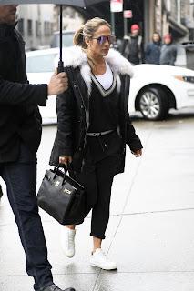 Jennifer Lopez in Black Dress Heading to a Studio in New York City