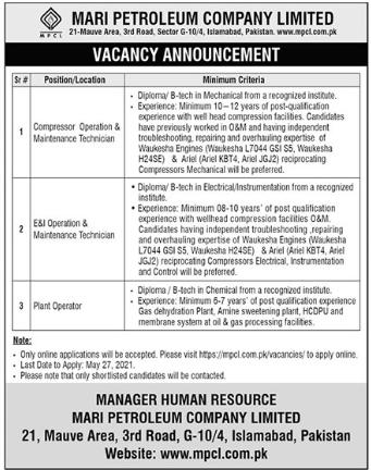 Mari Petroleum Company Limited MPCL Jobs 2021