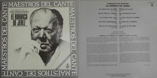 """Tío Gregorio El Borrico de Jerez, Paco Cepero MAESTROS DEL CANTE"""" HISPAVOX  1980 LP"""
