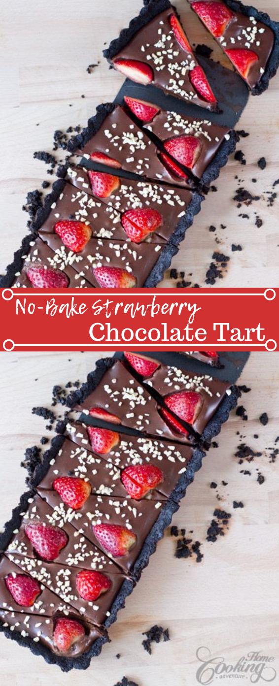 No-Bake Strawberry Chocolate Tart #dessert #strawberry #bars #snack #cookies