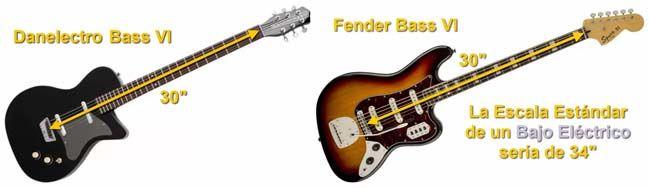 Danelectro Bass VI y Fender Bass VI con Escala de 30 Pulgadas