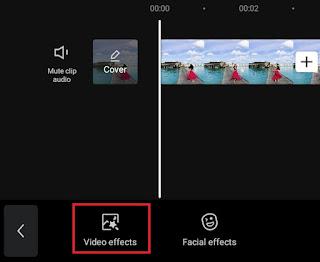 select video effects menu option