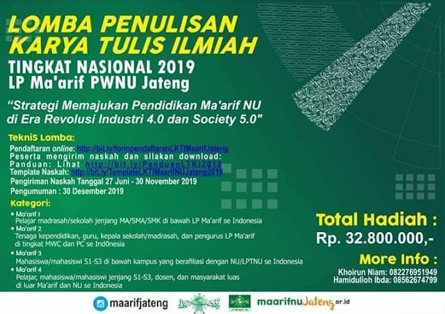 [Gratis] Lomba Karya Tulis Ilmiah Nasional 2019 di Ma'arif PWNU Jateng