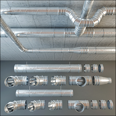 tubing, pipes, ventilation, ventilation pipes.Ventilation ducts of round cross section with a diameter of 160 mm and 250 mm