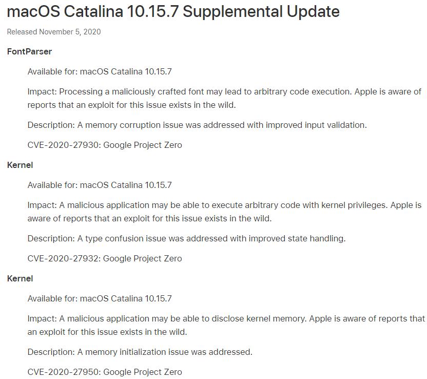 macOS 10.15.7 Supplemental Update Features Changelog