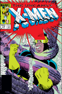 Cover of UNCANNY X-MEN #176 depictomg Cyclops underwater, ensared by a squid's tentacle, optic beam blasting