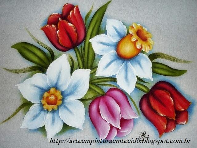 pintura de tulipas e narcisos