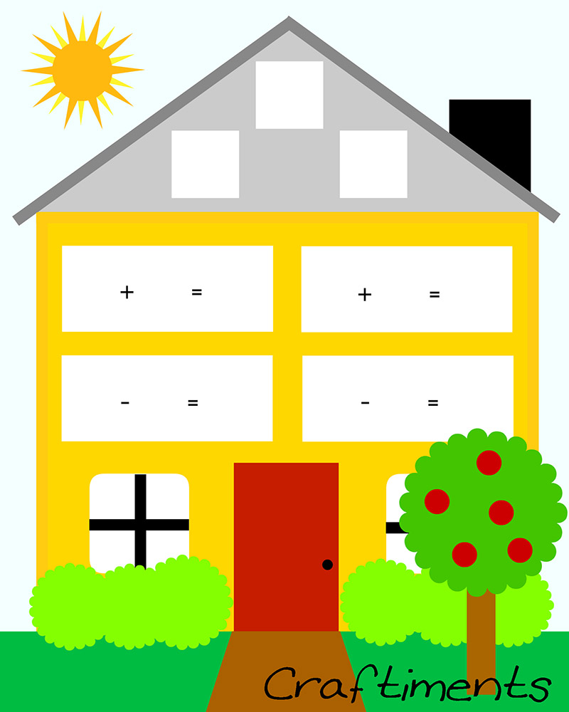 Craftiments: Free Printable Fact Family House Worksheet