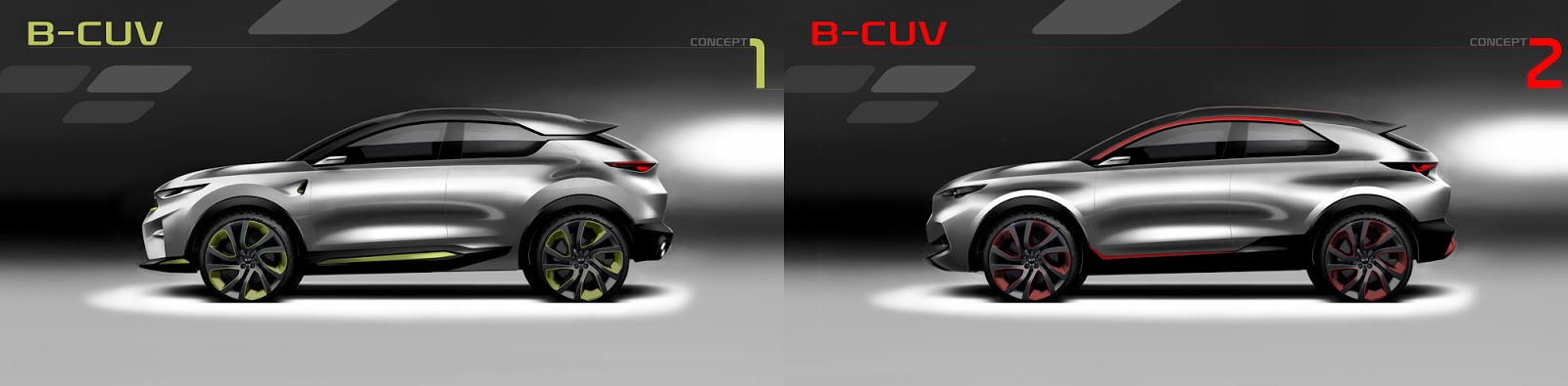 Kia Stonic sketch - options 1 and 2 styling from the side