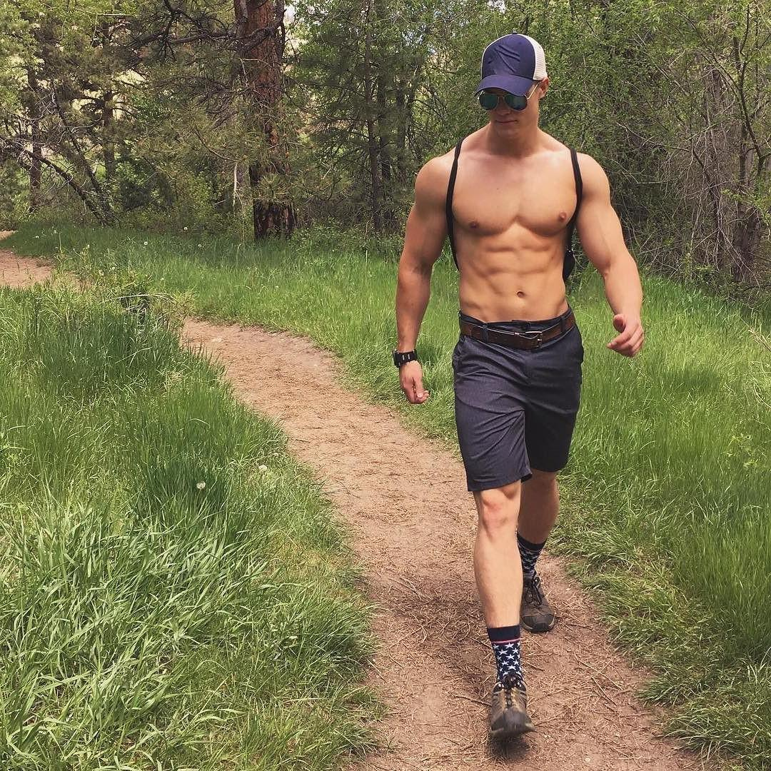 woods-hottie-shirtless-muscular-bro-body-sunglasses-walking-around-nature-hunk