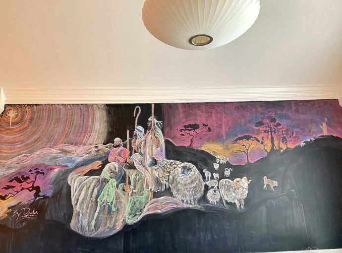 Chalk art mural featuring the nativity story