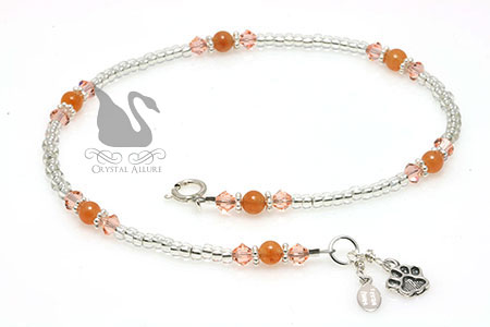 Prevent Animal Cruelty Orange Paw Crystal Awareness Anklet (A118)
