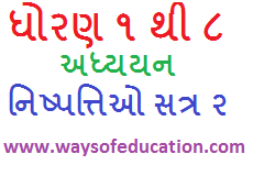STD 1 TO 8 ADHYAYAN NISHPATTIO(LEARNING OUT COMES) SEM 2 IN PRIMARY EDUCATION IN GUJARAT
