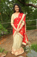 Akshara in Red Saree Golden Choli at LV Movie Makers Production No 1 Movie Opening ~  Exclusive 062.JPG