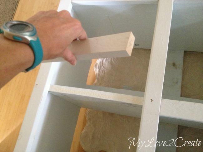 MyLove2Create, Cubby Shelf Revamp, adding small trim