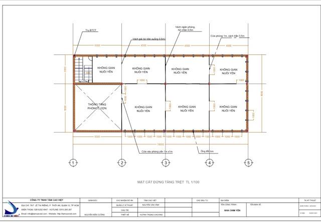 Thiết kế nhà yến 2D ngăn chia phòng tại Tri Tôn An Giang