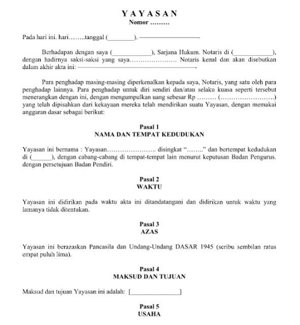 Contoh Surat Resmi Akta Pendirian Yayasan 17 Pasal Didalamnya Format Word
