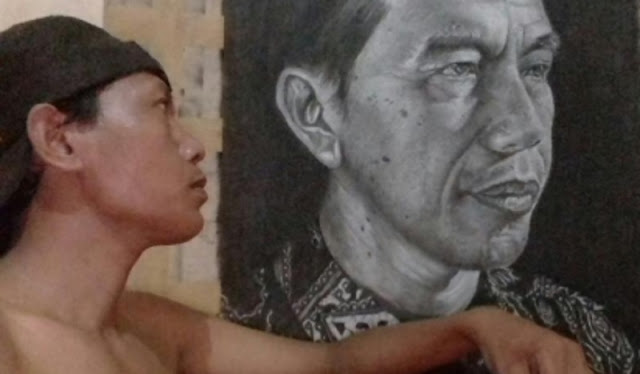 Jokowi dalam Lukisan Tangan Cefi sang Buruh Pabrik