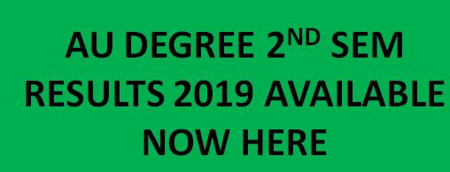AU Degree 2nd Sem Results 2019 Declared BSc / BA / BCOm