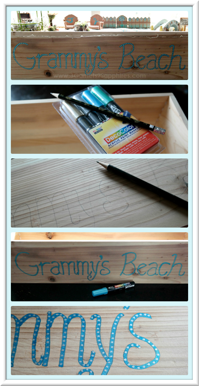 DIY Personalized Window Box for Beach Fairy Garden  |  3 Garnets & 2 Sapphires