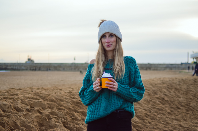 ordinary moments, hot chocolate at the beach