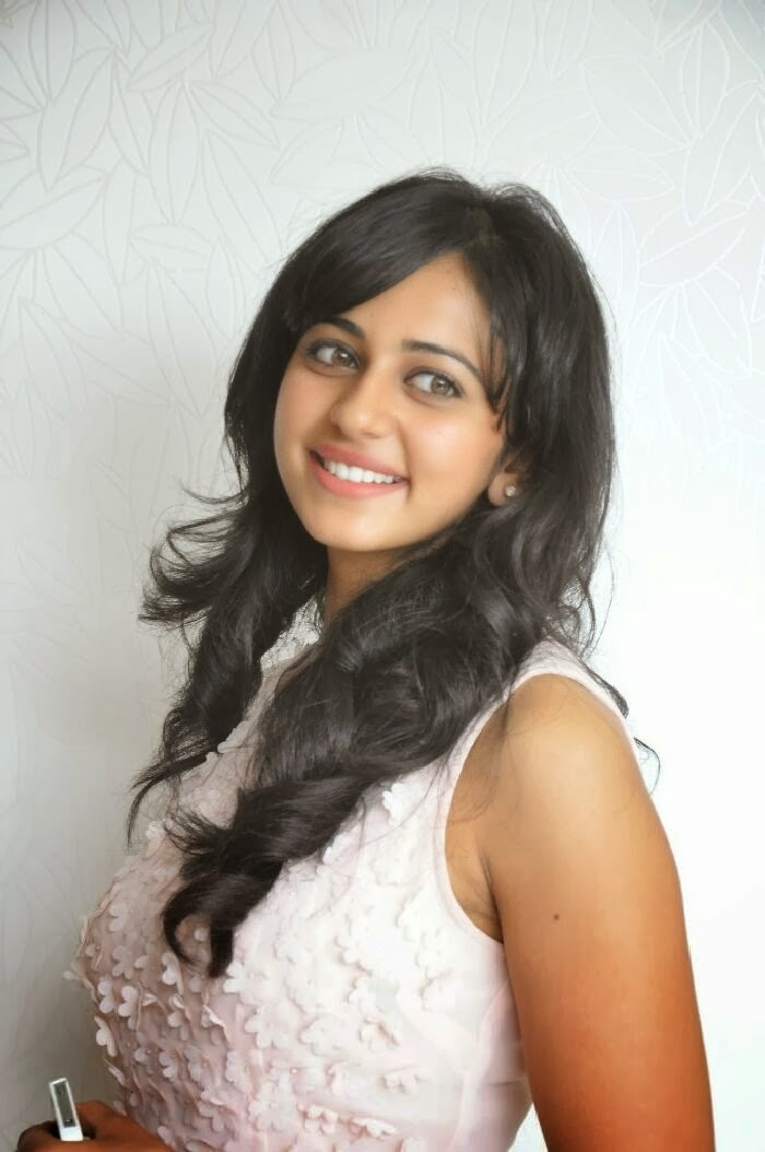 Rakul Preet Singh Long Hair Photos In White Dress