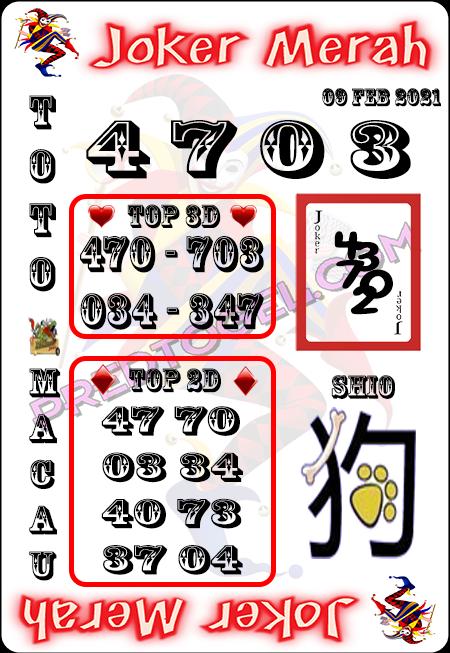 Prediksi Joker Merah Macau Selasa 09 Februari 2021