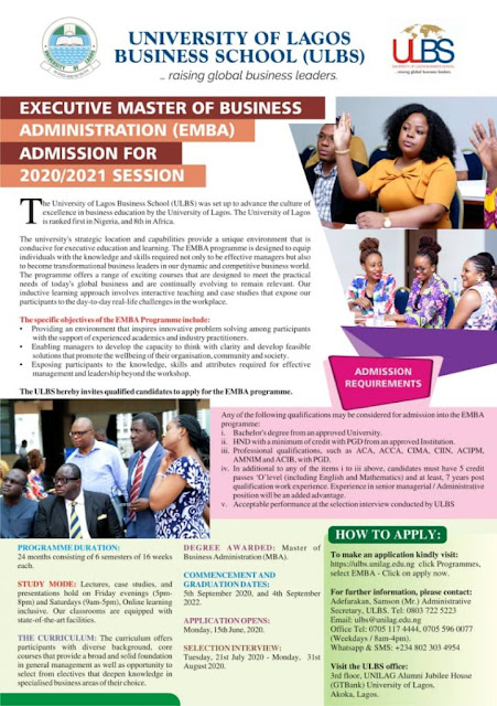 UNILAG Business School Executive MBA Admission Form 2020/2021