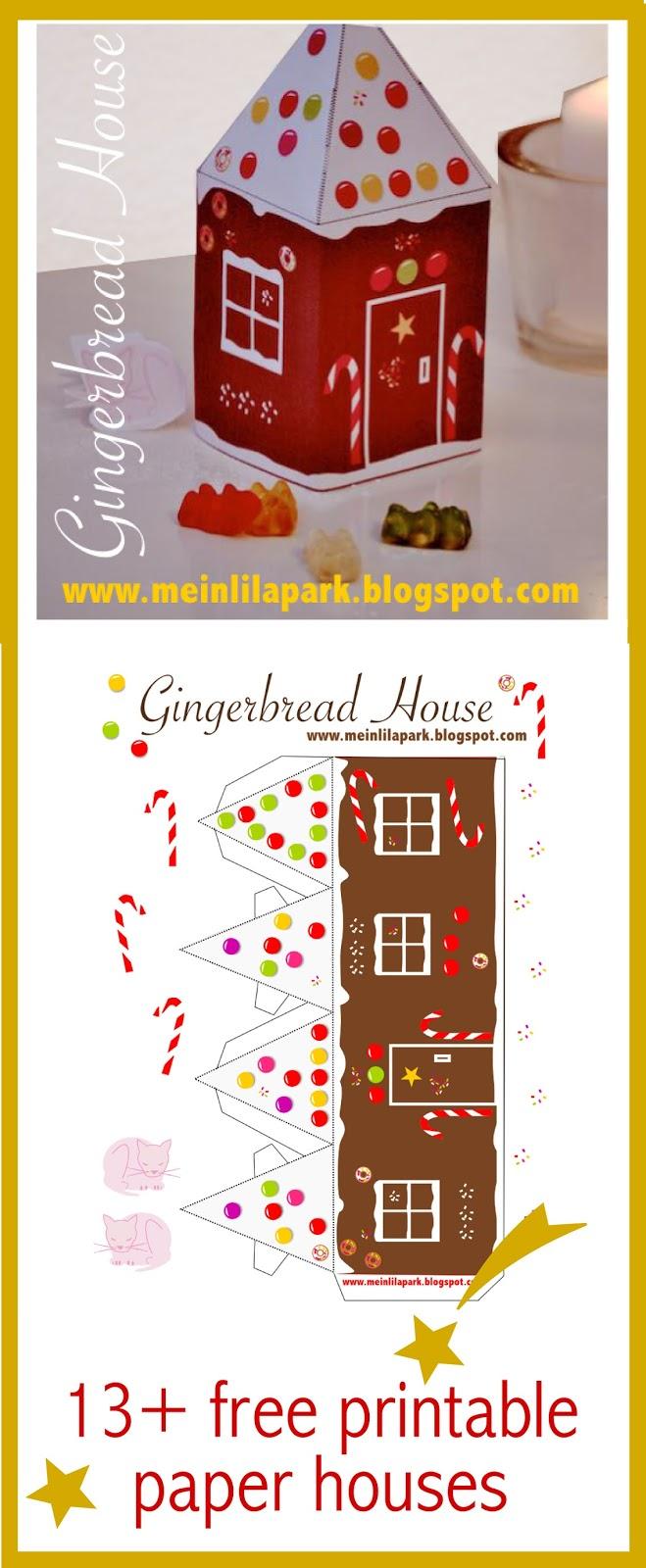 13 free printable paper houses for christmas freebie meinlilapark. Black Bedroom Furniture Sets. Home Design Ideas