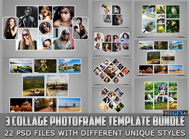 3 Collage Photo Frame PSD Template