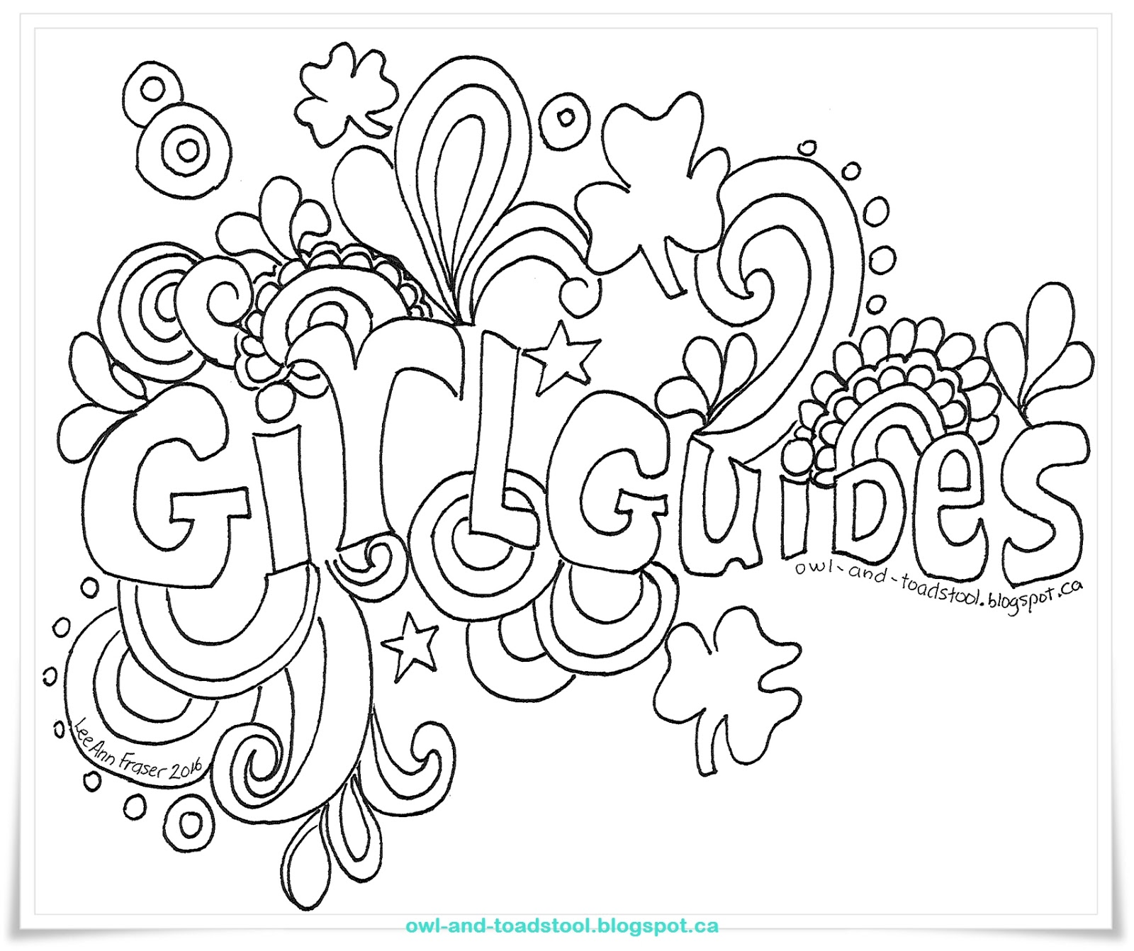 Owl Toadstool Doodle Girl Guides