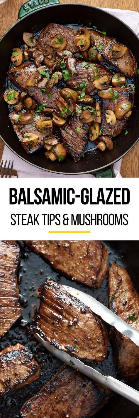 Easy Balsamic Glazed Steak Tips and Mushrooms