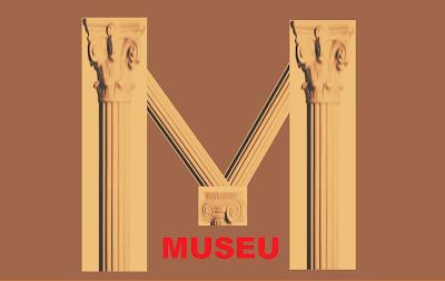 A imagem na forma da letra M construída com peças da arquitetura grega formam a palavra museu e mostram que as peças estão de mãos dadas como mãos de pessoas passeando indo em direção ao museu.