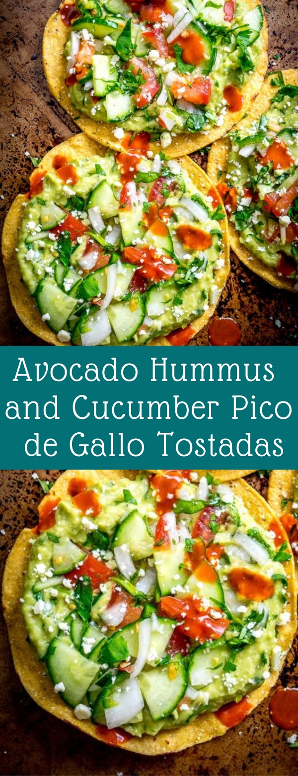 Avocado Hummus and Cucumber Pico de Gallo Tostadas