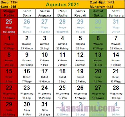 kalender jawa bulan agustus 2021 - kanalmu