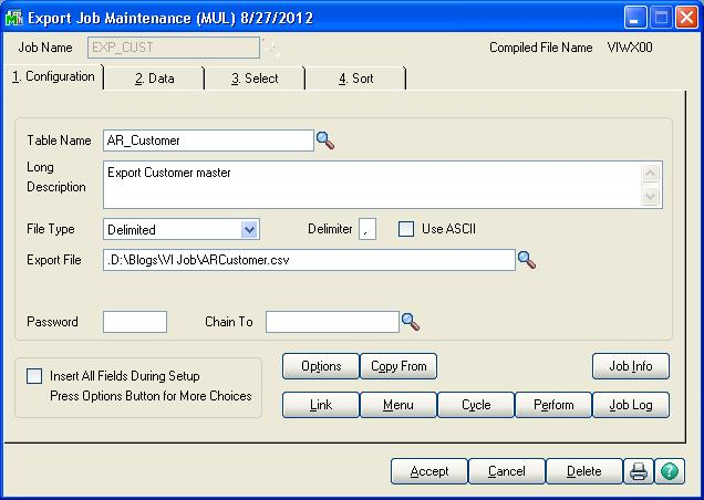 Export data from Sage 100 ERP using Visual Integrator Job – Sage 100