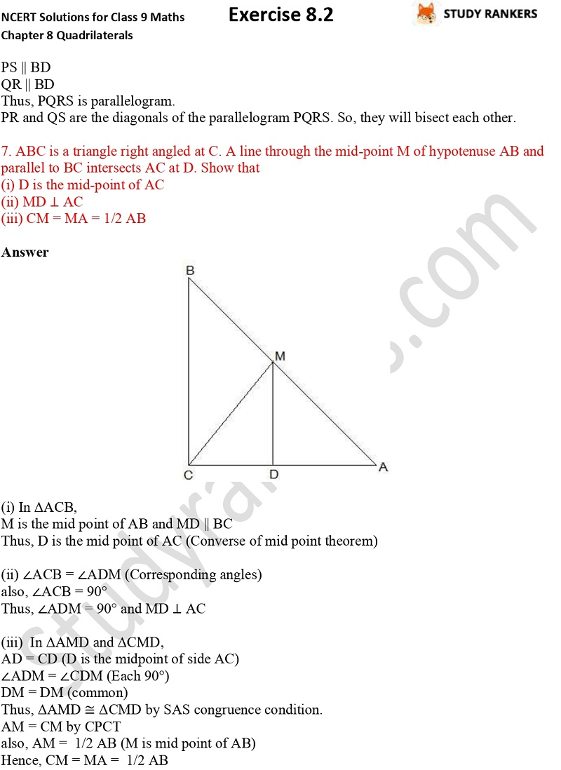 .NCERT Solutions for Class 9 Maths Chapter 8 Quadrilaterals Exercise 8.2 Part 6