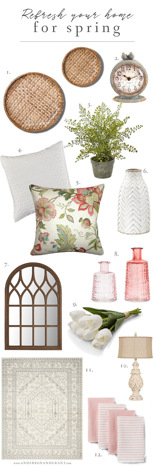 Simple tips for adding a fresh spring touch to your home, plus a few favorite decor finds. #andersonandgrant  #spring #decor